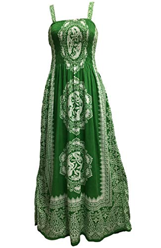 Yoga Trendz Celtic Print Sleeveless Bohemian Summer Long Maxi Dress (Emerald Green #3)