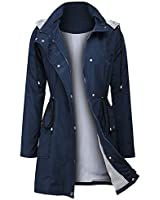 Arthas Women Rain Jacket Waterproof Active Outdoor Trench Raincoat with Hooded Lightweight Blue, Medium