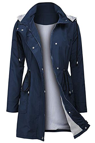 Arthas Women Rain Jacket Waterproof Active Outdoor Trench Raincoat with Hooded Lightweight Blue, Medium