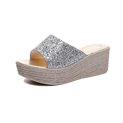 Sandalias de cuña para mujer, cómodas, para verano, con puntera abierta, lentejuelas, alpargata, plataforma, Silver, 38 EU