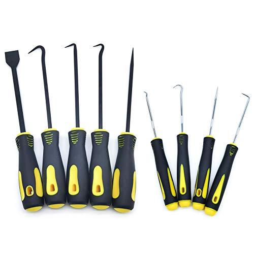 QISF 9 TLG Haken Schaber & Nadel Satz, Hakenset Dichtung Demontage Handwerkzeuge, schlauchentfernungshakenset Werkzeug für Auto-Reparatur