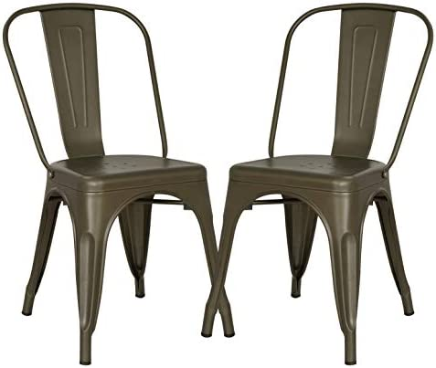 Best Poly and Bark Trattoria Kitchen and Dining Metal Side Chair in Bronze (Set of 2)