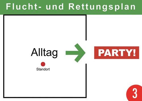 3er-Pack: Postkarte A6 +++ LUSTIG von modern times +++ FLUCHT- UND RETTUNGSPLAN +++ KÖPENICKER CG © BORGHORST, Hans