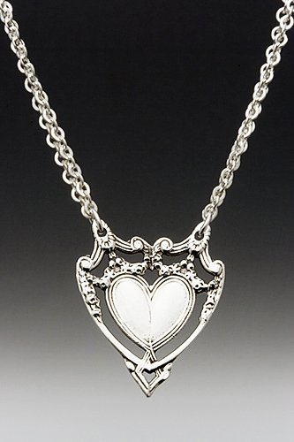 Silver Spoon Expanded Flower Heart Double Chain Link Necklace Marquis HND