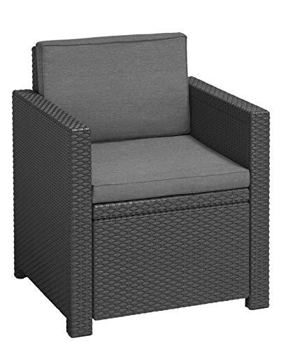 Allibert Victoria Chair, Single Item Lounge Sessel, Graphite/cool Grey (Poly Cotton Cushion)