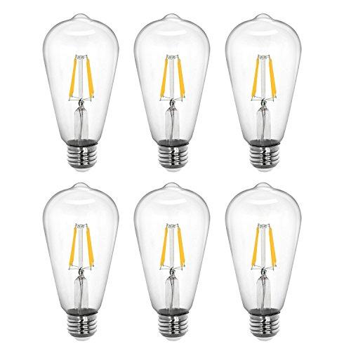 Tenergy Dimmable Edison Bulbs 5W LED Filament Bulbs (40 Watt Equivalent), Soft White (2700K), ST64 Bulbs, E26 Medium Standard Base Decorative Light Bulbs for Ceiling Light Fixtures (Pack of 6)