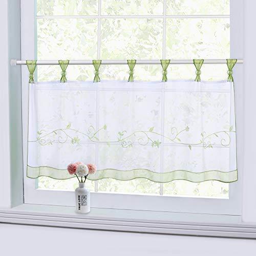 Cortinas de cocina LinTimes, medias cortinas bordadas a mano para cortinas de cocina cenefa de ventana corta, verde, 60 * 145 cm