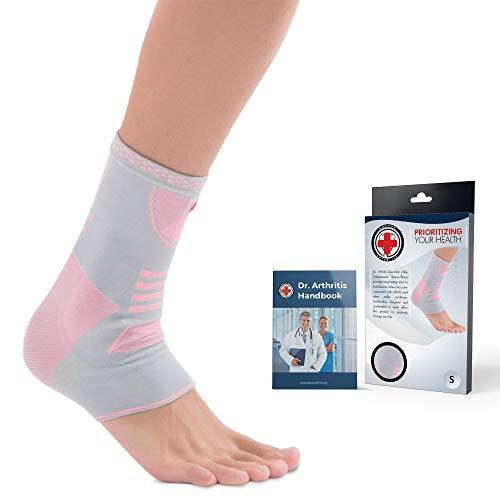 Doctor Developed - Tobillera de compresión, soporte de tobillo y manual escrito por médico, protector con almohadilla de gel de silicona para soporte de pie [individual] (rosa/gris, S)