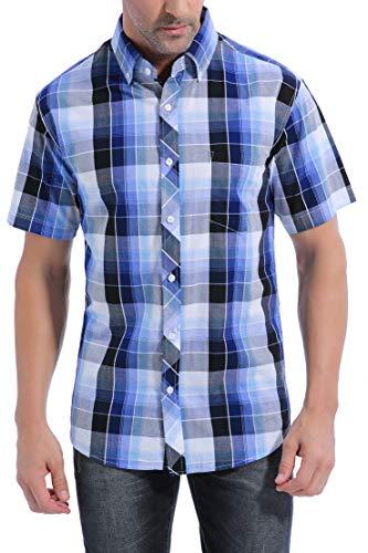 Lightweight Breathable Mens Short Sleeve Cotton Button Down Woven Shirts Regular Fit (#7Blue Plaid, L)