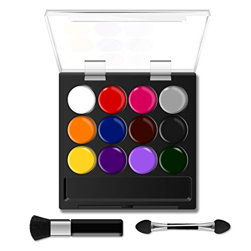 SKYLA & SKYLER Face Paint Kit for Kids,12 Water Based Paints Colors,Rainbow Cake,2 Brushes,Professional Makeup Face&Body Paint Safe for Skin, for Themed Parties,Masquerades,Birthday Parties,Carnivals