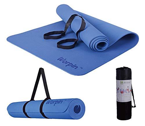 WORPIN, Esterilla Deporte Yoga Pilates Fitness Colchoneta Gimnasia Antideslizante, 183x61cm con Funda y Correa de Hombro, Material TPE ecologico