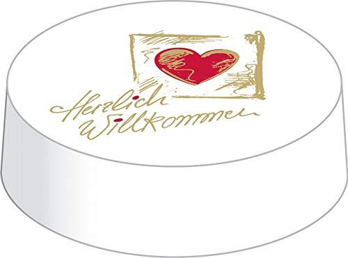 Mank DrinkSafe Caps aus Mattkarton | 200 Stück | Trinkschutz Glasabdeckung | perfekt für Gastronomie | Herzlich Willkommen (Ø 86 mm)