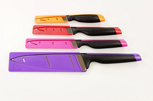 TUPPERWARE Messer Universal-Serie lila Koch+pink Wellenschliff+Gemüse orange+rot