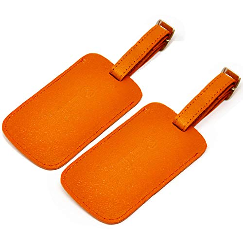 Logical Leather Luggage Tag Genuine Leather Travel ID Tags with Adjustable Leather Strap, Address Card and Privacy Cover, Orange, Set of 2