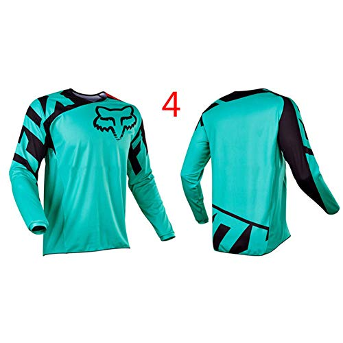 HFJLL Traje de Descenso al Aire Libre - Mountain Bike Motocross Jersey Camiseta de Manga Larga,No.4,L
