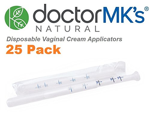 Disposable Vaginal Applicators (25-Pack), Fits Premarin Estrace Contraceptive Gels and Many Other Creams, Individually Wrapped Applicator with Dosage Markings, by Doctor MK's
