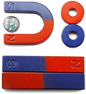 Adahill(TM) Physics Science Magnets Kit for Education Science Experiment Tools Icluding Bar/Ring/Horseshoe/Compass Magnets