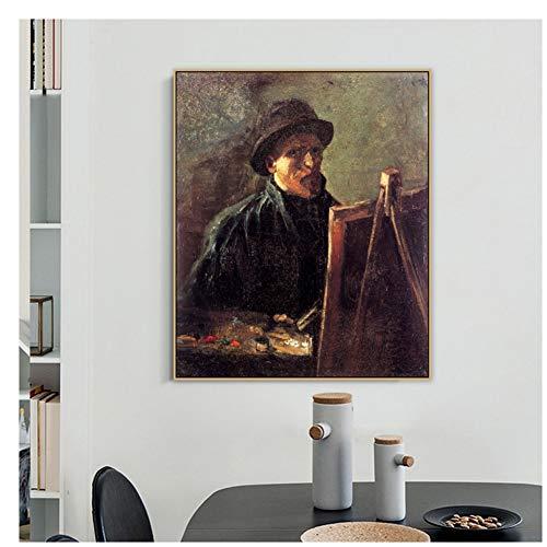 Autorretrato con sombrero de fieltro oscuro en el caballete por Famous Painting Master Canvas Painting Print Picture-40X60cm sin marco
