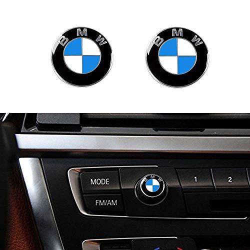 Enseng 2 Piece BMW Radio Button Emblem Sticker, 12mm Badge Decals Decoration Logo Fit for BMW (BMW)