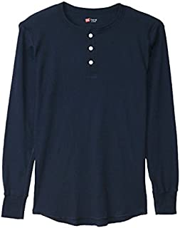 【 Hanes/ヘインズ 】 サーマル ヘンリー ネック ロング スリーブ Tシャツ ( 4color )