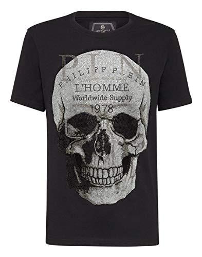 Philipp Plein MTK3610 - Camiseta de Manga Corta con Cuello Redondo Negro Negro (S