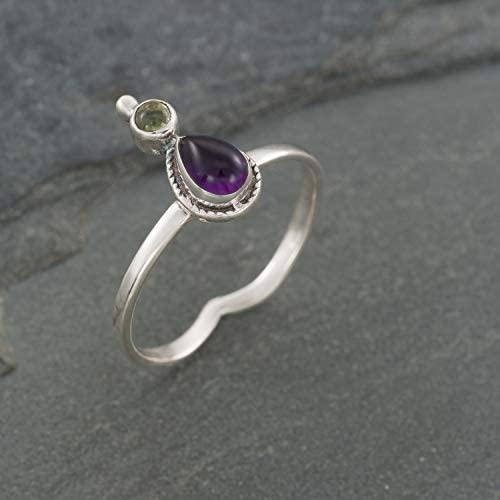Boho Sterling Silver Ring With Natural Amethyst and Green Peridot Stone Unique Tribal Oval Stone product image