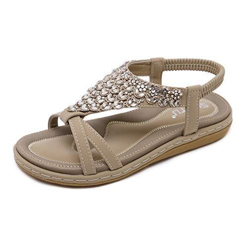 Offene Sandalen Damen Sommer Flache Sandaletten mit Strass - Bohemian Stil,Beige/B,39 EU