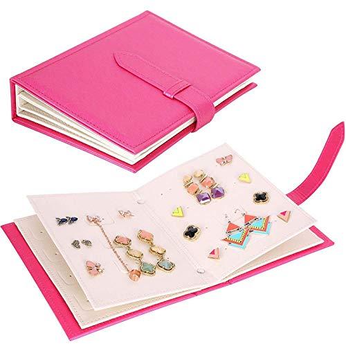 Coreano creativo tachuelas pendientes colgantes de almacenamiento libro raya caja de joyería portátil organizador viajes caja de regalo de exhibición de cuero