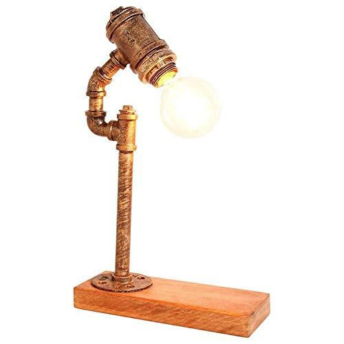 LHQ-HQ Lámpara de Escritorio Oficina Estudio Industrial Retro iluminación Regulable Dormitorio lámpara de cabecera de Lectura zócalo DIY Creativo rústico Cobre Hierro del Tubo de Agua lámpara de Mesa