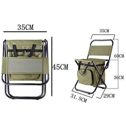IENPAJNEPQN Angeln Stuhl Movable Kühlschrank Warmhalte Kälte tragbare Falten Strand Stuhl 1350g Sitz Camping 100kg Stühle Klappstuhl (Color : Green)