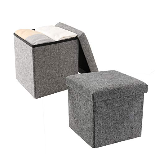 YCOCO Storage Ottoman Cube Small Folding Ottoman Cube Seat Ottomans with Storage Versatile Space Saving Storage Toy Box118quotx118quotx118quotGreyPack of 2