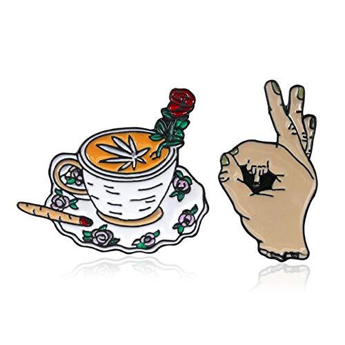 Persönlichkeit Kaffeetasse Rose Ahornblatt Zigarette Brosche Geste Mittelfinger FXXK OK Emaille Pin Leder Abzeichen Freunde Geschenke