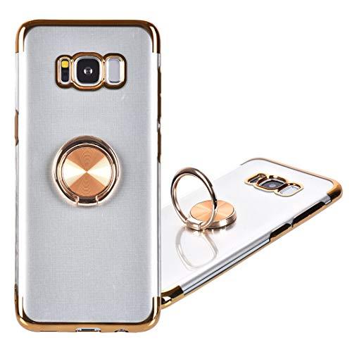 Galaxy S8 Plus Housse avec Anneau de Support, 360 Degrés Rotation Anneau Bague avec Support Magnétique TPU Souple Anti-Scratch Silicone Transparente Couverture Étui à Rabat pour Samsung Galaxy S8 Plus