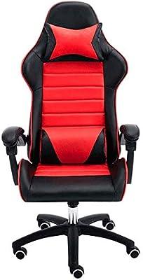 人間工学的ハイバックチェアゲームレーシング昼寝コンピュータオフィススイベルチェア高さ調節可能ビデオゲーム椅子、赤