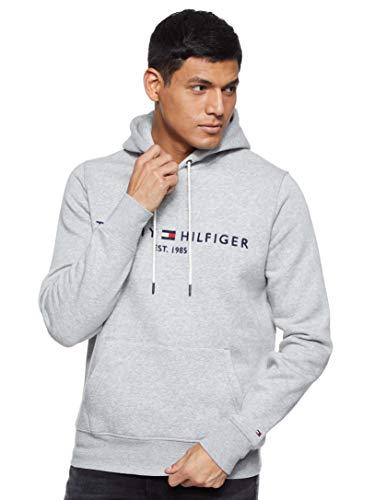 Tommy Hilfiger Herren TOMMY LOGO HOODY Sweatshirt, Grau (Cloud Htr 501), Large (Herstellergröße:L)