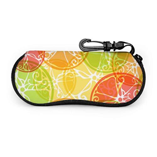 DAIDYA Brillenetui, Muster Citrus Fruits Vintage runde Sonnenbrille Softcase Ultraleichtes Neopren-Reißverschluss-Brillenetui mit Karabinerhaken, Softbrillenetui
