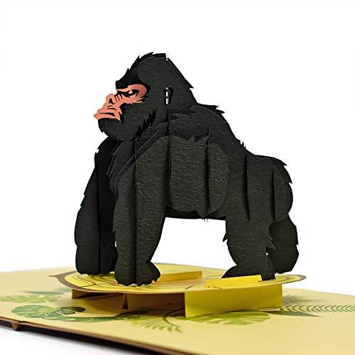CUTPOPUP Gorilla Karte Pop Up, 3D Geburtstagskarte Dankeskarte Pop Up für Sohn,...