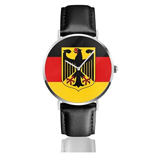 Flagge Deutschland mit Wappenlederarmband Armbanduhr Casual Classic Edelstahl Quarz Business Uhr