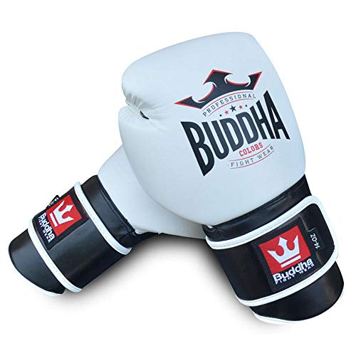 Buddha Sports Boxhandschuhe, Muay Thai Kickboxen, Weiß, 12 onzas
