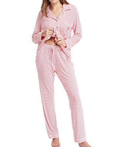 Women's Long Sleeve Sleep Shirt Nightgown Button Down Pajama by Nora TWIPS(Pink,XL)