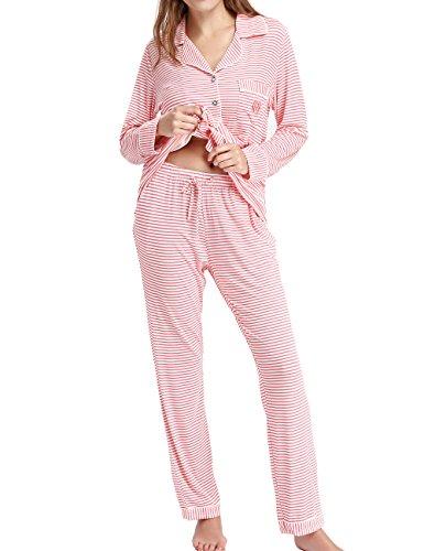 Womens Pajama Set Long Sleeve Sleep Shirt Nightgown Button Down Pajama Loungewear(Pink,XL)