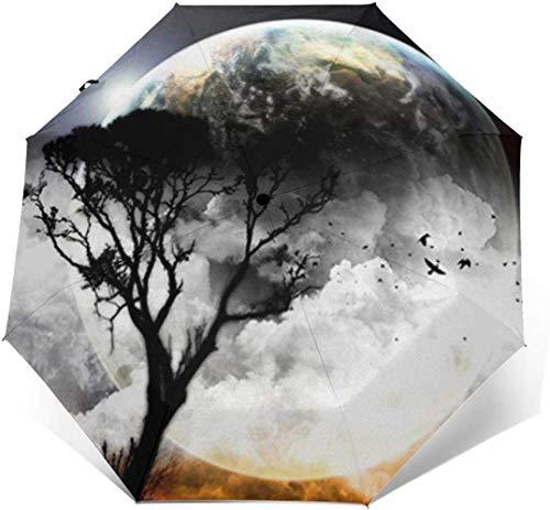 Planet View Travel Plegable Tri-Fold Umbrella Open Close Automático