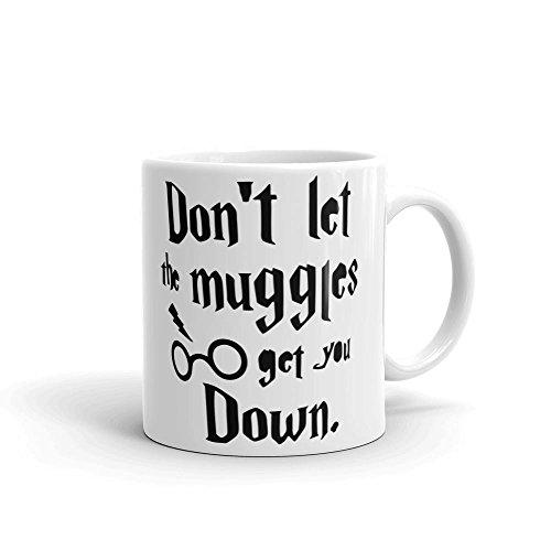 """Keramikbecher mit der Aufschrift """"Don't Let The Muggles Get You Down"""" inspiriert von Harry Potter, weiß, 325 ml"""