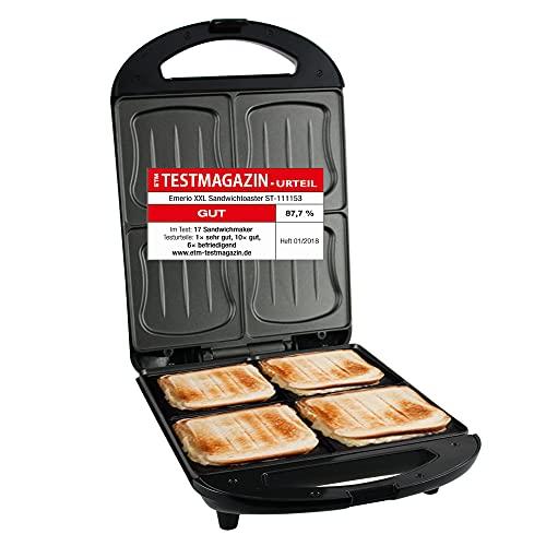 Emerio XXL Sandwich Toaster, für alle Toastgrößen geeignet, 4x große Muschelform, kein Auslaufen, kein Verschmieren, 1300 Watt, ST-111153