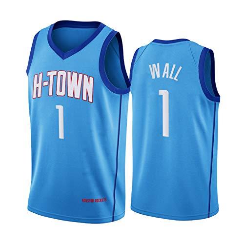 QJV Jugend Houston Rockets John Wall 2020 City Edition Swingman-Trikot, Blau # 1 Wärmeangewandtes Ärmelloses Netz-atmungsaktives Sweatshirt (S-XXL) XL