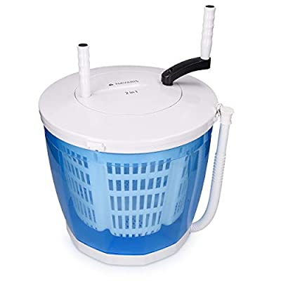 Navaris 2-in-1 Mini Washing Machine and Spin Dryer - Holds up to 2 kg - Portable Hand Cranked Non-Electric Top Washer/Dryer for Camping, Caravans