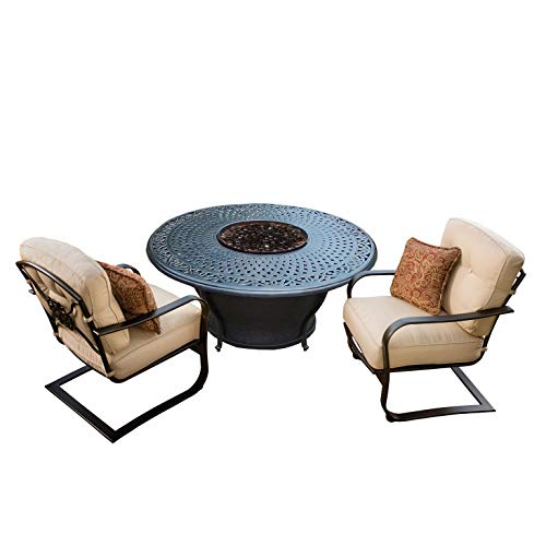 Best Price CC Outdoor Living 3-Piece Round Cast Aluminum Gas Fire Pit Set w/Cream Patio Rocking Chai...