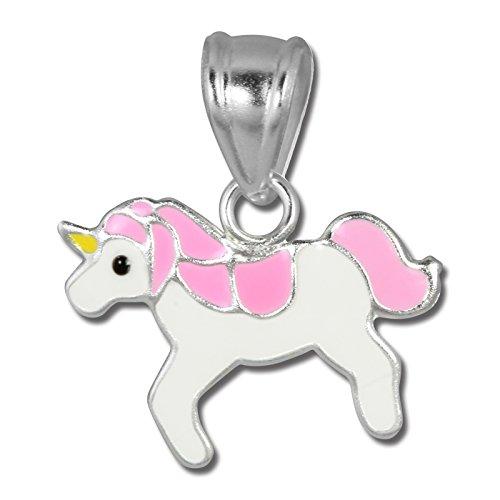 Teenie-Weenie Ketten Anhänger Einhorn 925 Silber weiß rosa Emaille SDH8104A