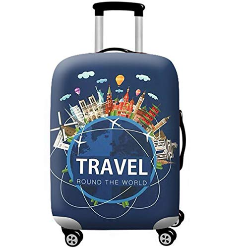 WUJIAONIAO Travel Luggage Cover Spandex Suitcase Protector Washable Baggage Covers (S (for 18-20 inch luggage), TRAVEL)