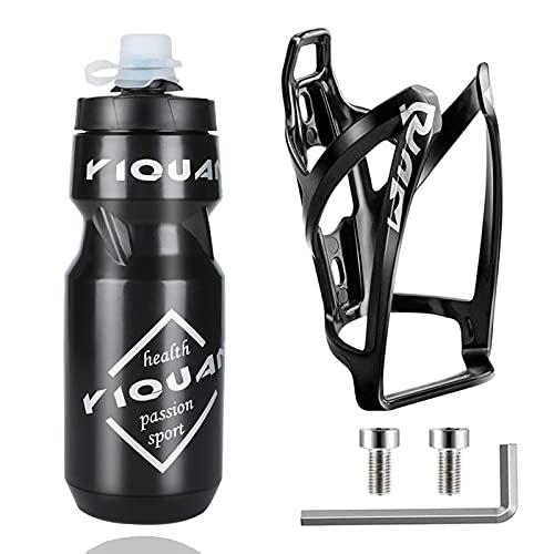 OSIGEI Bike Water Bottle Cage with 24 oz Bike Bottle Premium BPA-Free Cycling Water Bottle Lightweight Bike Bottle Holder with Screws Sports Bottle for Road Mountain and Kids Bikes (Black))